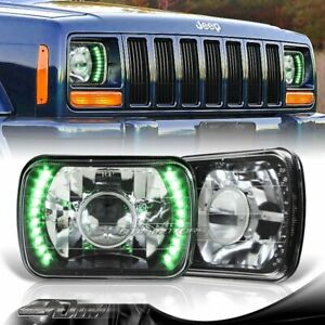 7 x6 H6014 H6052 H6054 Green Led Black Housing Projector Headlights Universal 1