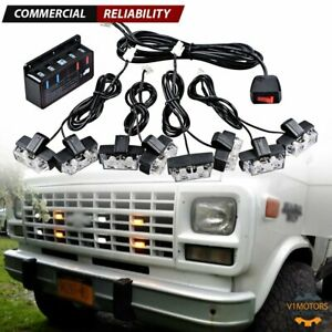 Car White Amber 16 Led Grill Strobe Light Vehicle Emergency Flash W Controller