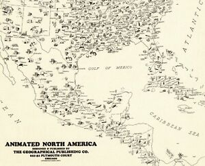 1931 Antique Animated North America Map Rare Size Map Of United States Map 6674