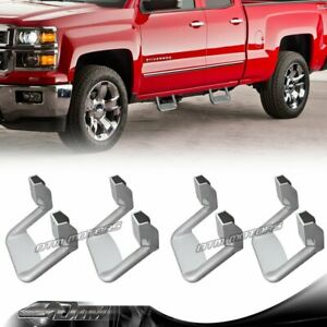 4 pcs Silver Texture Coated Die cast Aluminum Truck Side Step Bar Universal 3