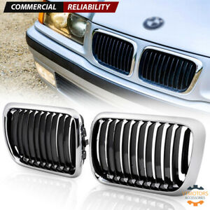 Pair Chrome Front Kidney Grill For Bmw E36 3 Series 318i 323i 328i M3 1997 1999