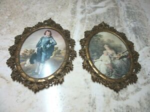Pair Of Vintage Ornate Brass Convex Glass Action Frames Italy