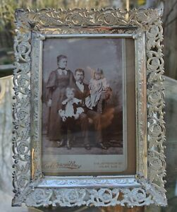 Vintage Metal Embossed Picture Frame With Real Antique Photo Of A Family