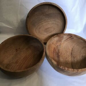 Vintage Hand Carved Wooden Salad Bowls Set Of Three Great Home Decor