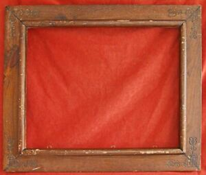 Heart Antique Folk Art Wood Frame Flowers Carving 16x20 Huge Dark Old Surface