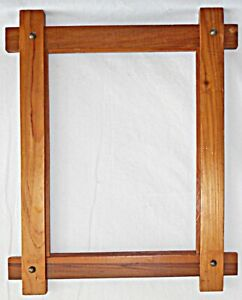 Wood Arts Crafts Studded Frame Vintage Heavy Wide Large Art Picture Rustic