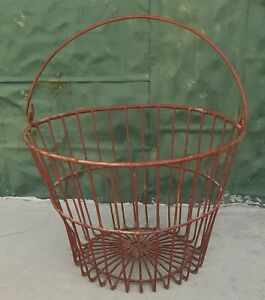 Vintage Primitive Farm Red Painted Wire Egg Harvest Basket
