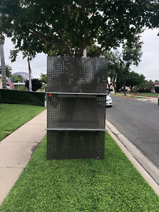 Large Stainless Steel Pegboard With Shelves