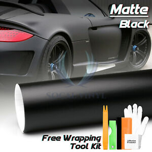 Premium Matte Black Flat Vinyl Wrap Sticker Decal Film Bubble Free Air Release