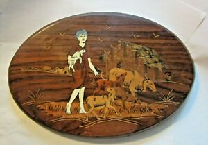 Vintage Inlaid Marquetry Oval Wood Plaque India Man W Farm Animals Goat Sheep