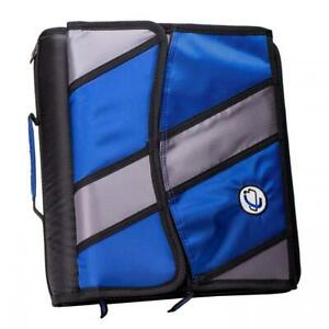 Case it Sidekick 2 inch O ring Zipper Binder With Removable Tab File Blue