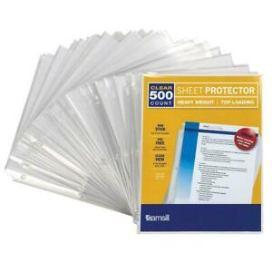 Samsill 500 Clear Heavyweight Sheet Protectors 3 3 Mil Thickness Top