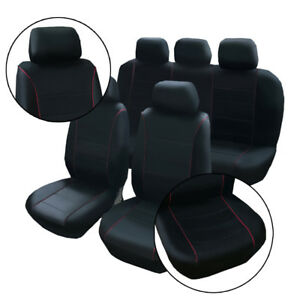 Black Pu Leather Seat Cushion Covers Front Bucket Low Back Seat Covers 9pcs