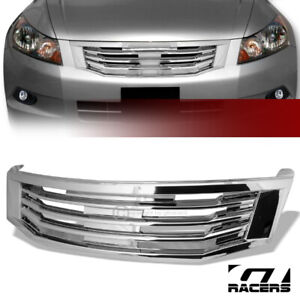 For 2008 2010 Honda Accord Sedan Chrome Mu Style Front Bumper Grill Grille Abs