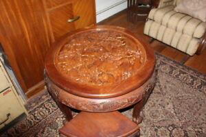 Vtg Chinese Oriental 30 Round Glass Top Side Table Coffee Table With 4 Stools