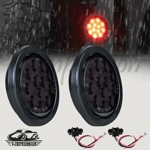 Pair 4 Inch Red 12 Led Round Brake Stop Tail Light Truck Grommet Wiring Plug