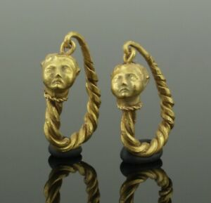 Fabulous Ancient Greek Gold Earrings 4th 1st Century Bc 0112