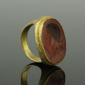 Fabulous Ancient Greek Gold Intaglio Ring 4th 1st Century Bc 223