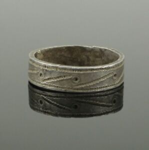 Large Ancient Medieval Silver Ring Circa 14th 15th Century Ad
