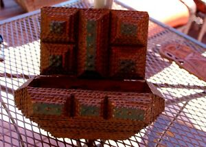 Early 1900 S Antique Tramp Art Chip Carved Wood Hanging Planter Cigar Box