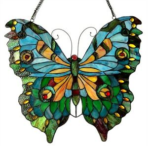 Tiffany Style Butterfly Stained Glass Window Panel 21 X 20 Last One This Price