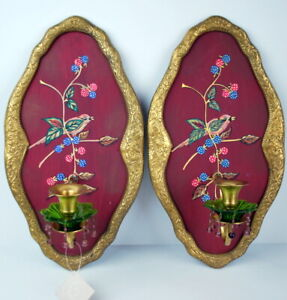 Pair Of Tracy Porter Candle Wall Sconces Beautiful Painted Bird Detail Beading