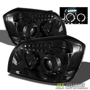 Smoked 2005 2007 Dodge Magnum Led Halo Projector Headlights Set Left right 05 07