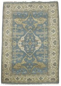 Hand Knotted Blue Floral Oushak 4x6 Indian Area Rug Oriental Home D Cor Carpet