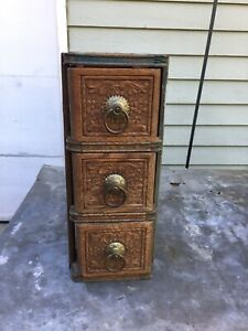 Antique Ornate Oak Treadle Sewing Machine Drawers