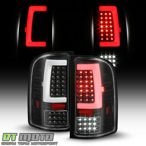 Black 2007 2013 Chevy Silverado 1500 Sequentia Led Tube Tail Lights Brake Lamps