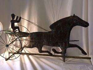 Antique Weathervane Horse Carriage Sulky Copper Brass Large 19th Century