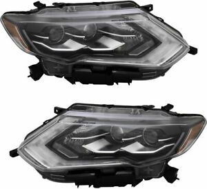 Fits Nissan Rogue 2017 2018 Led Headlights Head Lights Lamps Pair New