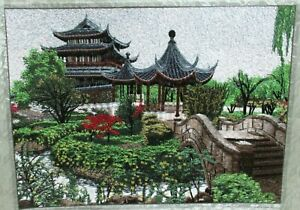 Japanese Temple Bridge Silk Embroidery Tapestry Painting Unsigned