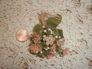1880s Antique Victorian Silk Millinery Flowers Pink Forget Me Nots Hats Dolls