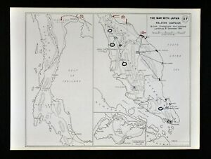 West Point Wwii Map War Japan Malayan Campaign Malaysia Thailand Singapore Asia