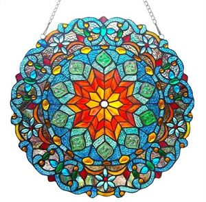 Tiffany Style Stained Glass 21 Round Window Panel Victorian Last One This Price