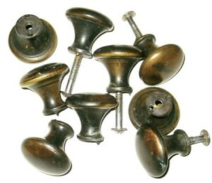 Lot Of 9 Vintage Brass Tone Steel Knobs Cabinet Door Dresser Desk Drawer Handles