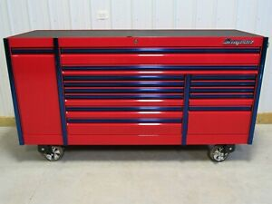 Snap On Candy Apple Red Blue Trim 84 Epiq Tool Box Work Mat