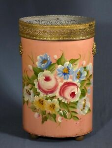 Vintage Plymouth Tole Hand Painted Waste Basket Trash Can Pink Roses