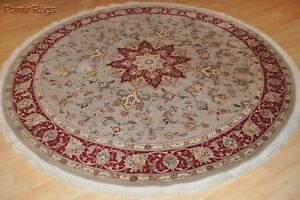On Sale Persian Wool Silk 7x7 Ft Round Rug Top Quality Siege Green 200 Knots