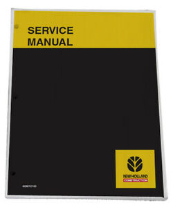New Holland E50 E50sr Excavator Service Manual Repair Technical Shop Book