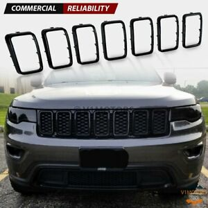 Black Grill Inserts Trim Ring Cover Guard For 2017 2020 Jeep Grand Cherokee