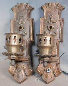 Pair Antique Bronze Wall Sconce Hammered Metal Arts Crafts Detroit Line Railroad