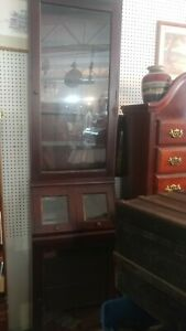Wood Framed Glass Showcase Country General Store Display solid Mahogany