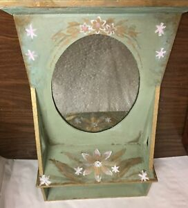 Antique Vtg Hand Painted Floral Oval Mirror Wooden Wall Shelf Sage Green Gold