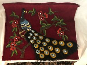 Beadwork Applied To Velvet Picture Peacock With Flowers 20 By 16