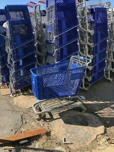 Shopping Carts Plastic Mid Size Lot 8 Blue Buggy Used Store Fixture Dollar Store