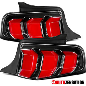 For 2010 2012 Ford Mustang Slick Black Sequential Led Signal Tail Lights Lamps