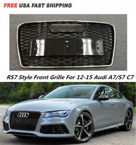 Rs7 Style Chrome Frame Black Mesh Honeycomb Hex Grille For 12 15 Audi A7 S7 C7