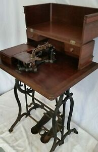 Civil War Antique Wheeler Wilson Treadle Sewing Machine W Cabinet Pat 1854